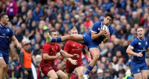Leinster fullback Joey Carbery claims the high ball during the Guinness Pro 14 game against Munster at the Aviva Stadium. Photograph:   Dan Sheridan/Inpho