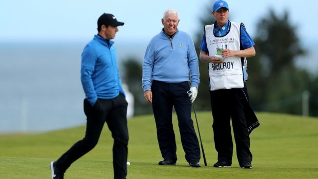 McIlroy with father Gerry on the ninth hole at Kingsbarns. Photo: David Cannon/Getty Images