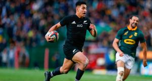 New Zealand's Rieko Ioane   on his way to scoring a try during the Rugby Championship match against South Africa at Newlands  stadium  in Cape Town. Photograph: Gianluigi Guercia/AFP/Getty Images