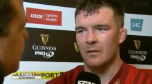 Munster's Peter O'Mahony reacts to post-match question