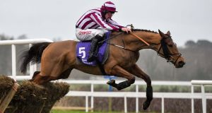 Mega Fortune, with Davy Russell, jump the last on their way to winning the Spring Juvenile Hurdle at Leopardstown last year. Photo: Cody Glenn/Sportsfile via Getty Images