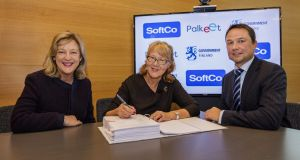 Softco cofounder Susan Spence, Pirjo Poyhia, MD Palkeet, Finland, and Anton Scott, CEO, SoftCo