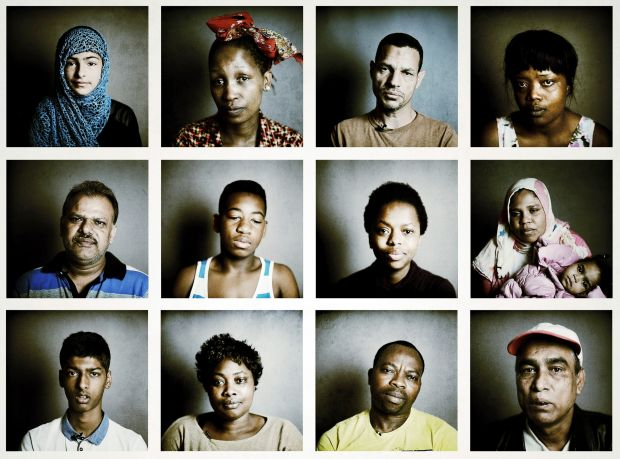Portraits of asylum seekers in direct provision in 2014. Top row from left: Minahil, Mosa, Heidar and Noreen. Middle row: Laiq, Tebogo, Yolanda, and Naifaty with baby Halima. Bottom row: Waleed, Patricia, Gbenga and Badrul. Photographs: Bryan O'Brien