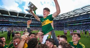 David Clifford celebrates Kerry's victory over Derry after his outstanding contribution of 4-4 in the All-Ireland minor football final at Croke Park. Photograph: Tommy Dickson/Inpho