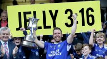 Cavan Gaels' Micheal Lyng lifts the trophy after their win over Castlerahan. Photograph: Tommy Dickson/Inpho