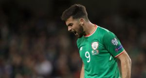 Shane Long rues a missed chance against Moldova at the Aviva Stadium on Friday night. Photograph: Niall Carson/PA Wire