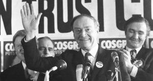 Fine Gael rally: Liam Cosgrave at the Mansion House in Dublin in 1973. Photograph: Tom Lawlor