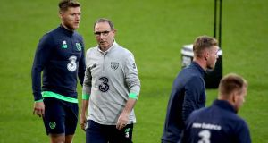 Ireland manager Martin O'Neill during training ahead of the World Cup qualifier with Wales. Photo: Ryan Byrne/Inpho