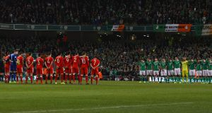 Wales and the Republic of Ireland line up before the clash in the Aviva Stadium which ended a scoreless draw last March. Photograph:  Ian Walton/Getty Images