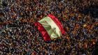 WHO REIGNS SPAIN?: Demonstrators at a protest for Spanish unity in Barcelona on Sunday. Photograph: Angel Garcia/Bloomberg