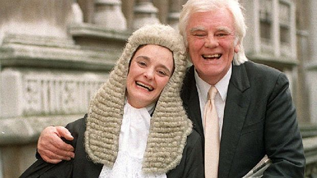 Cherie Booth and her father, Tony Booth, outside the High Court in London after she was sworn in as a QC, in 1995. Photograph: Fiona Hanson/PA Wire