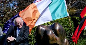 President Michael D Higgins unveils a Famine memorial in Subiaco, Perth, Australia. Photograph: Maxwell's