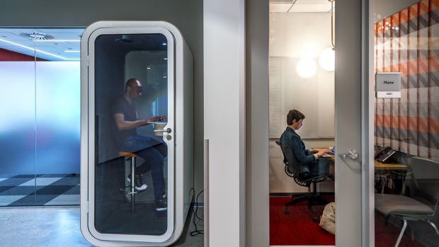 A phone-booth-style room for privacy, left, and an isolation room, right, on Microsoft's campus in Redmond, Washington. Photograph: Stuart Isett/The New York Times