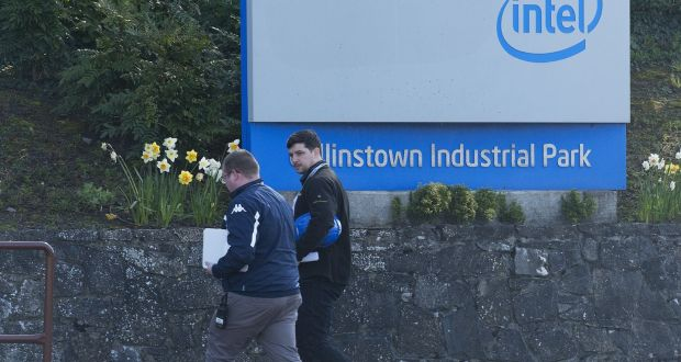 Workers entering the Intel facility at Leixlip, Co Kildare. Photograph: Dave Meehan/The Irish Times