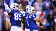 Indianapolis Colts kicker  Adam Vinatieri   celebrates after making a 51-yard field goal in overtime to defeat the San Francisco 49ers 26-23 at Lucas Oil Stadium  2017 in Indianapolis, Indiana. Photograph: Stacy Revere/Getty Images