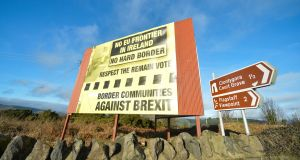 An anti-Brexit sign on the Northern Ireland side of the border between Republic and Northern Ireland. Photograph: Artur Widak/NurPhoto via Getty Images