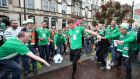 COYBIG: Ireland fans in Cardiff ahead of the crunch World Cup qualifier against Wales. Photograph: Nick Potts/PA Wire.