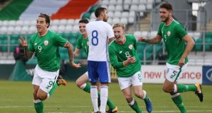 Republic of Ireland's Reece Grego-Cox celebrates scoring his hat-trick during the European U21 Championships qualifier against Israel at Tallaght Stadium. Photograph: Nigel French/PA Wire