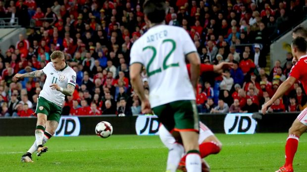 James McClean scores for the Republic of Ireland in the World Cup qualifier against Wales at the Cardiff City Stadium. Photograph: James Crombie/Inpho