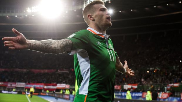 McClean celebrates after giving Ireland a huge win away to Austria. Photo: David Maher/Sportsfile via Getty Images