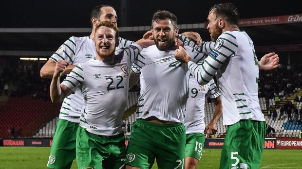Daryl Murphy celebrates after scoring Ireland's late equaliser in Belgrade. Photo: David Maher/Sportsfile via Getty Images