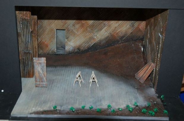 Francis O'Connor's model box with its corrugated walls for the play Famine. Courtesy Francis O'Connor