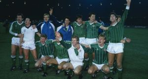 The Northern Ireland team celebrate after a 0-0 draw with England at Wembley Stadium had ensured their qualification for the 1986 World Cup. Photograph: Bob Thomas/Getty Images