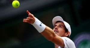 Andy Murray during his quarter final match against Sam Querrey at Wimbledon in July. Photograph: Getty Images