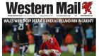 The front page of the Western Mail after Ireland dashed Wales' World Cup hopes. Photo: Western Mail Twitter