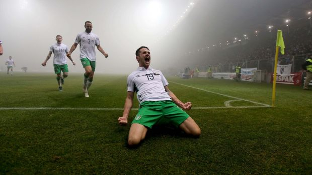 Brady celebrates scoring in the fog of Zenica. Photo: Donall Farmer/Inpho