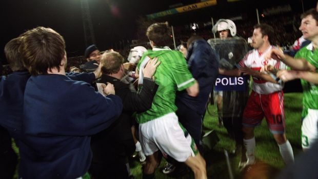 Tony Cascarino gets caught up in a brawl at the end of the match in Bursa. Photo: Patrick Bolger/Inpho