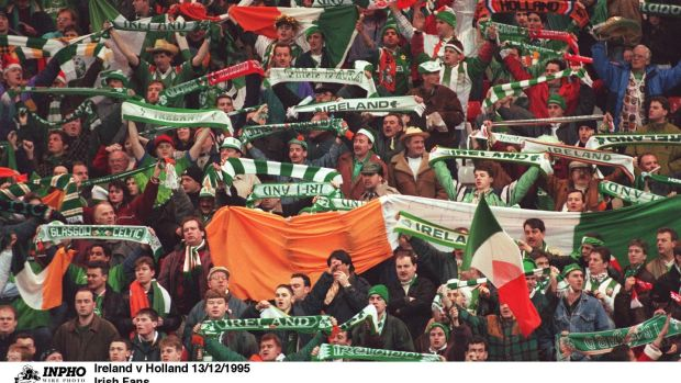 Ireland fans in Anfield with a suspect number of Ivory Coast flags on show. Photo: Inpho