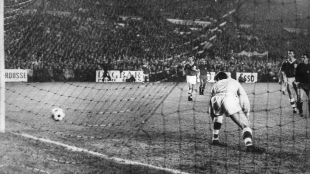 Irish goalkeeper Pat Dunne can only watch as Jose Antonio Ufarte scores the goal which would knock Ireland out of the World Cup and see the Spanish team qualify for the 1966 finals. Photo: Central Press/Getty Images