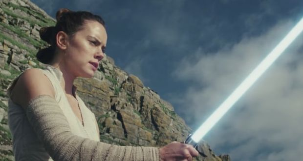Rey (Daisy Ridley) being irresponsible on Star Wars Island in the first full trailer for 'Star Wars: The Last Jedi'