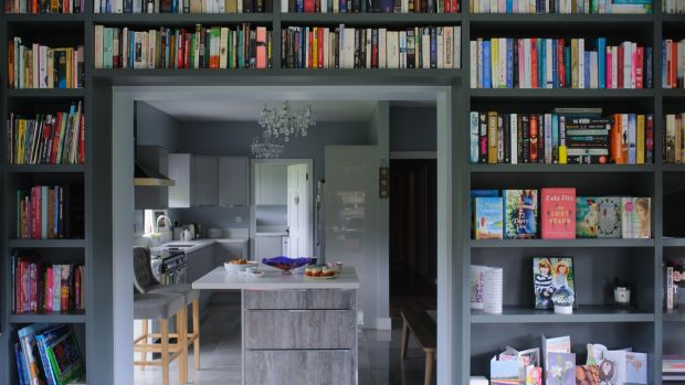 The library wall of Carmel Harrington's home