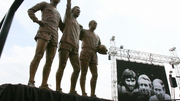 Bobby Charlton, Denis Law and Bobby Charlton formed Manchester United's 'holy trinity.' Photograph: Paul Ellis/AFP