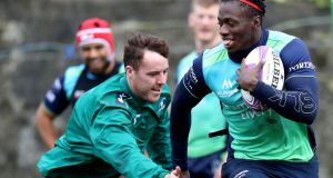 Connacht's Niky Adeolokun in action during the squad's training session at the Sportsground. Photograph: Bryan Keane/Inpho