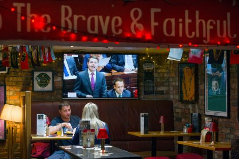 BUDGET 2018: Minister for Finance Paschal Donohoe's Budget 2018 Dáil speech is aired in the Thomond Bar, Marlboro Street, Cork. Photograph: Daragh Mc Sweeney/Provision