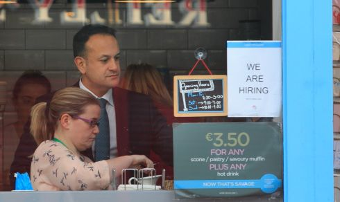 BUDGET PURCHASE: Taoiseach Leo Varadkar at the Lolly & Cooks shop on Merrion Street in Dublin. Photograph: Gareth Chaney/Collins