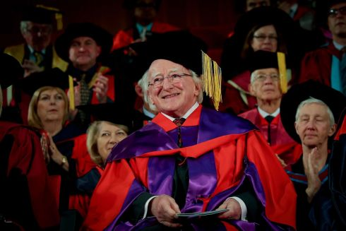 PRESIDENT'S AWARD: President Michael D Higgins receives an honorary doctorate at the University of Western Australia in Perth. Photograph: Maxwell's
