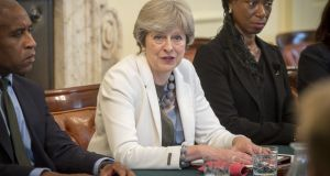 British prime minister Theresa May hosts a discussion around the cabinet table on Tuesday on the findings of the Race Disparity Audit, which she commissioned last year. Photograph: Bradley Page/Getty Images