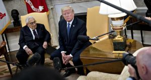 Oval Office: pressed as he met Henry Kissinger about his relationship with Rex Tillerson, Donald Trump said he had confidence in his secretary of state. Photograph: Andrew Harrer/Bloomberg