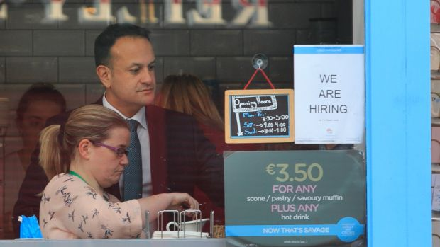Pause for thought: Taoiseach Leo Varadkar at the Lolly & Cooks coffee shop on Merrion Street. Photograph: Gareth Chaney/Collins