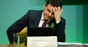 Minister for Finance and Minister for Expenditure and Reform Paschal Donohoe TD during the budget press conference at Government Buildings, Dublin. Photograph: Dara Mac Dónaill / The Irish Times