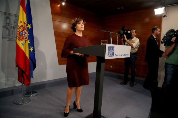 Spanish vice-president Soraya Saenz de Santamara has announced a special meeting of the Ministers Counsil to value the measures to deal with the Catalonian crisis. Photograph: Juanjo Martin/EPA