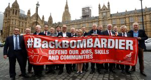 Members of Britain's Unite trade union protest outside the Houses of Parliament in support of Bombardier workers in London. Photograph: Peter Nicholls/Reuters