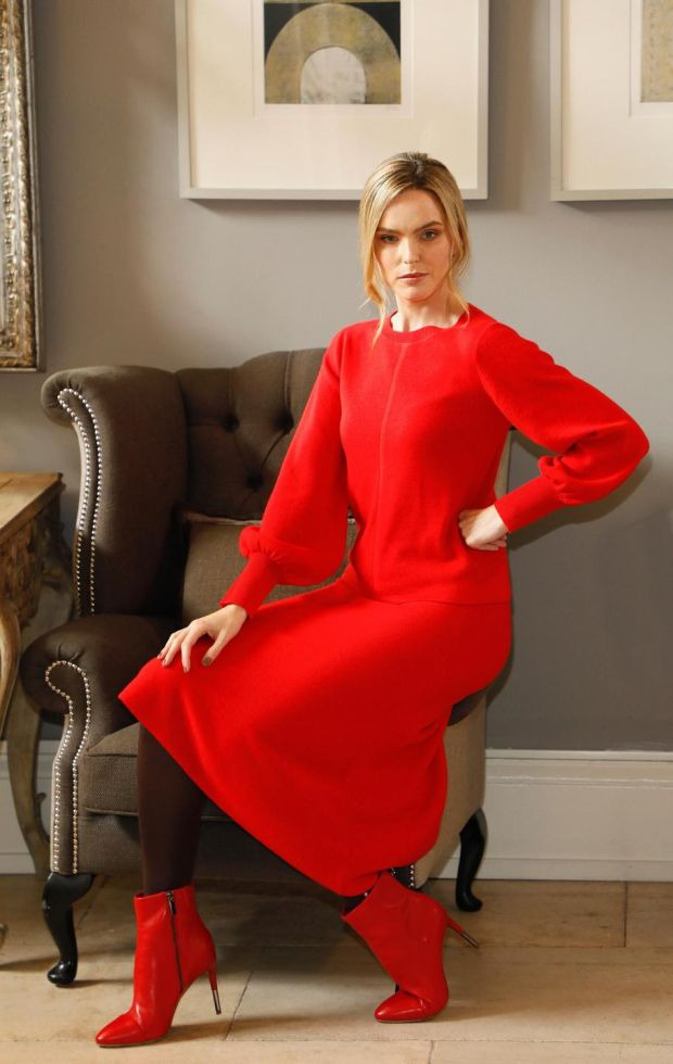 This striking red ensemble comprises the top at €60 and skirt priced at €82. Photograph: Kieran Harnett