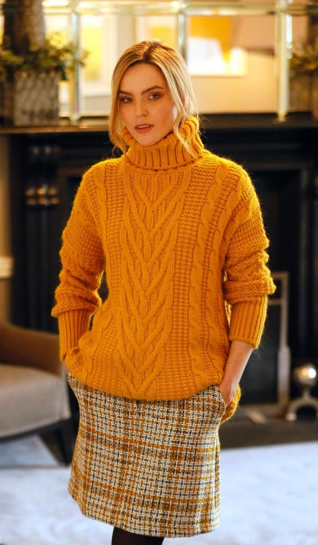 This chunky knit sweater can be had for €47.50, while the tweed skirt is €49. Photograph: Kieron Harnett