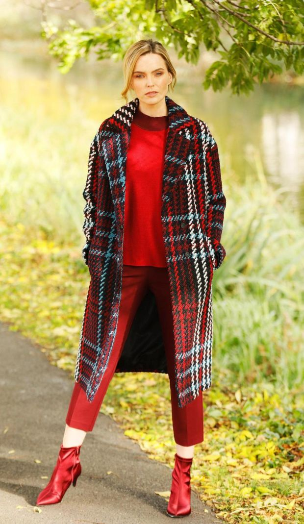 This oversize red-check coat limited edition is €95 while the skinny red trousers are €27. The red polo neck sweater is €24. Photograph: Kieran Harnett