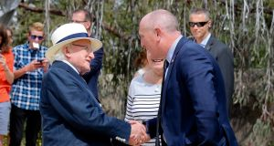 President Michael D Higgins being greeted by Minister for Environment   Stephen Dawson in Perth. Photograph: Maxwell's